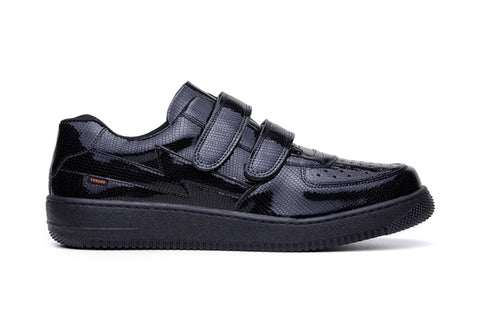 'Paramount' matte black vegan low-top sneaker with velcro straps by King55