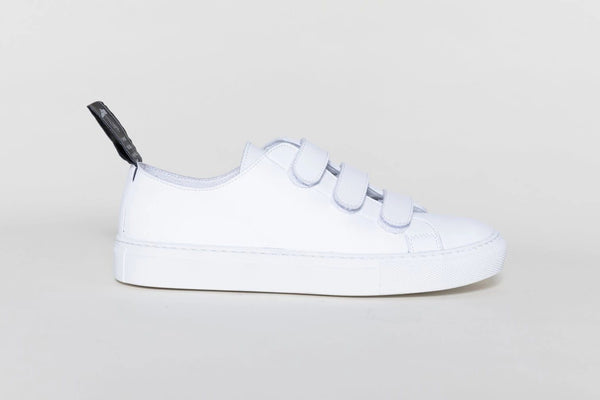 'Keith' vegan-leather sneaker with velcro straps by Good Guys don't Wear Leather - white