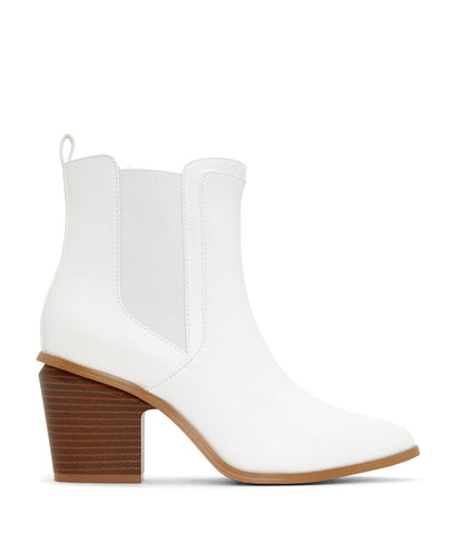 'Kalista' Vegan Mid Heel Boots by Matt and Nat - White