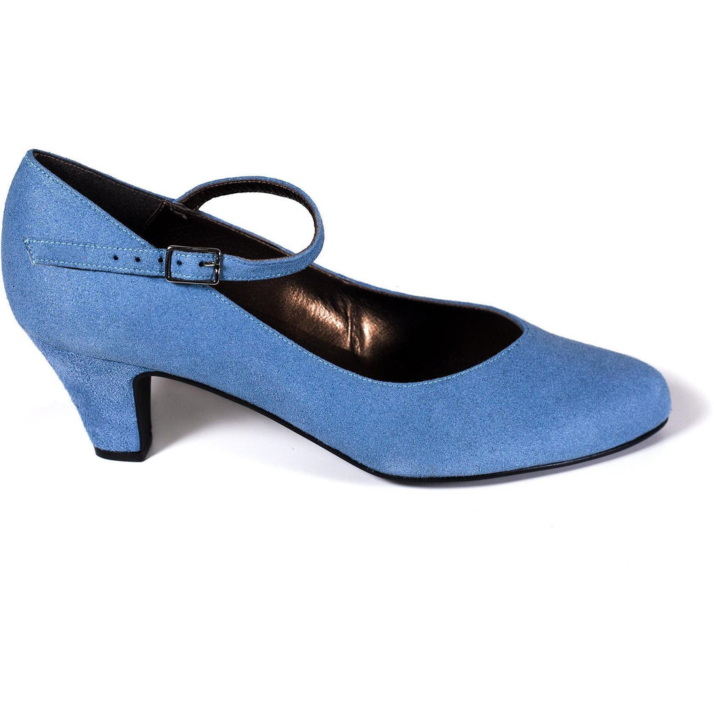 'Charlotte' Mary-Jane vegan mid-heel by Zette Shoes - blue