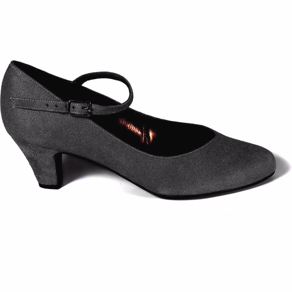 'Charlotte' Mary-Jane vegan mid-heel by Zette Shoes - charcoal