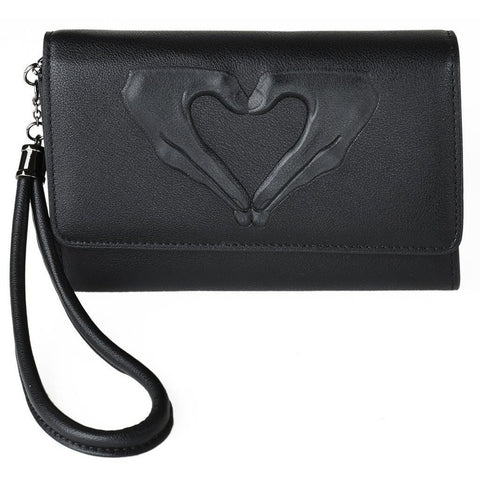 Leyla Yucel - Lucky Wallet - Heart Hands (black) - Vegan Style