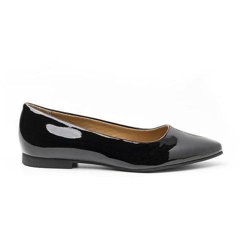 'Diana' vegan women's flat by Ahimsa - patent black
