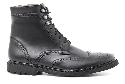 Unisex Wing Tip Boots by Ahimsa - black