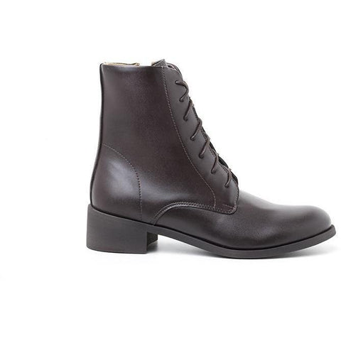 'Victoria' Women's Lace Up Boots (espresso) by Ahimsa - Vegan Style