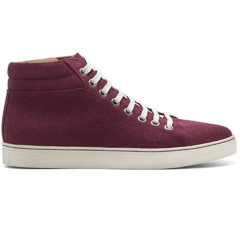 Ahimsa Men's high-top vegan sneakers - burgundy