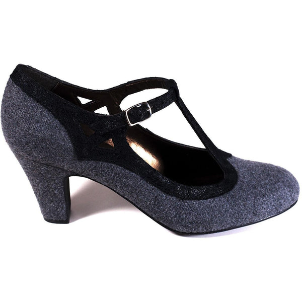 'Elsa' vegan t-bars by Zette Shoes - grey