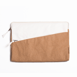 Mali washable paper laptop case by Pretty Simple Bags - camel/white - Vegan Style