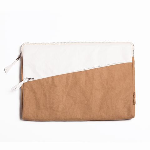 Mali washable paper laptop case by Pretty Simple Bags - camel/white