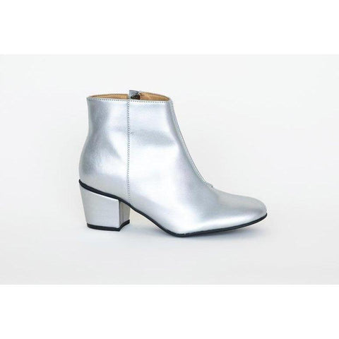 'Noah' silver vegan-leather bootie by Good Guys Don't Wear Leather