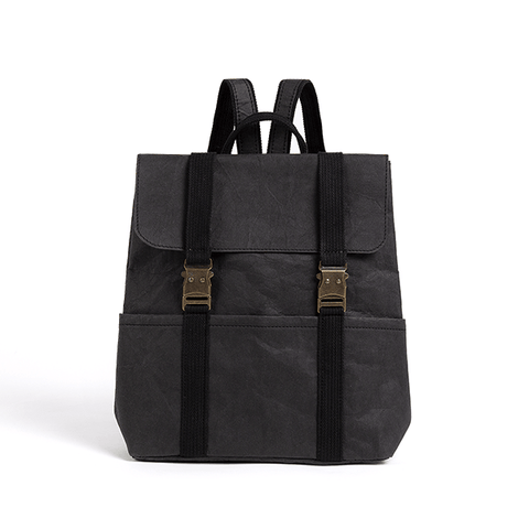 Omer washable paper backpack by Pretty Simple Bags - black