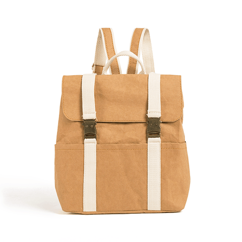 Omer washable paper backpack by Pretty Simple Bags - light camel
