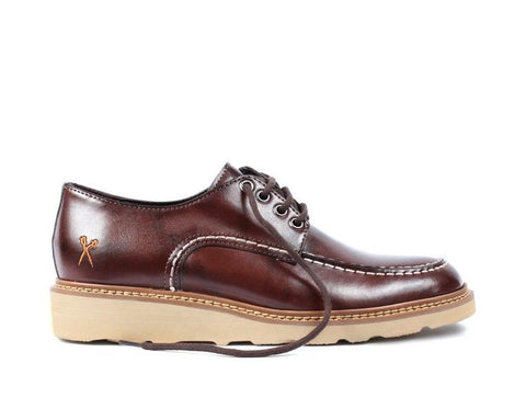'Oslo' vegan lace-up shoe with white sole by King55 - Cognac - Vegan Style