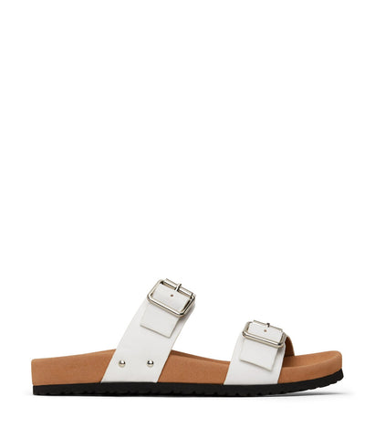 'Ibaka' women's vegan footbed sandals by Matt and Nat - white