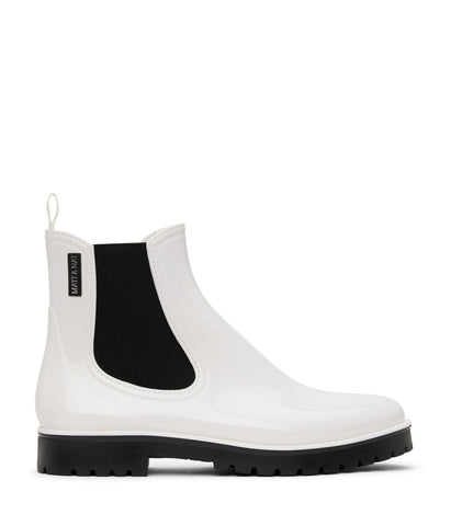 'Laney' Vegan Chelsea Waterproof Rain Boots by Matt and Nat - White