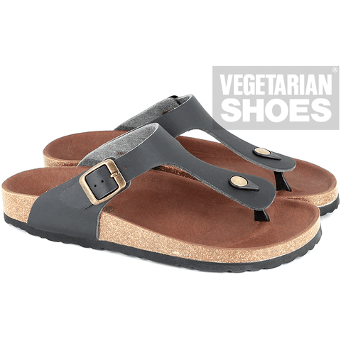 Vegetarian Shoes - Patmos Sandal (Black) - Vegan Style