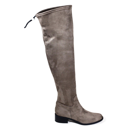 'Mila' over the knee vegan boots by Zette Shoes - taupe