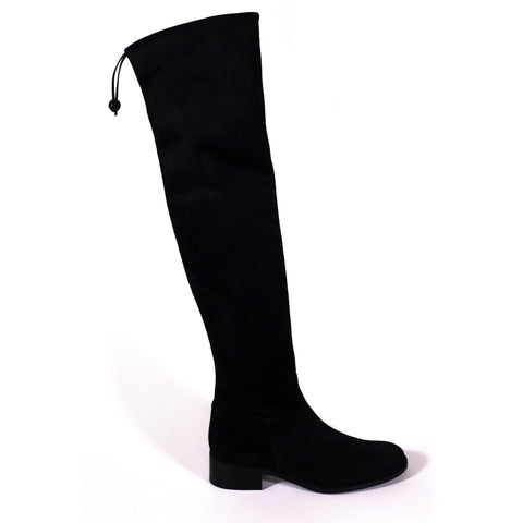 'Mila' over the knee vegan boots by Zette Shoes - black