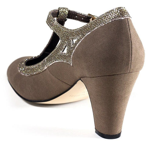 'Elsa' vegan t-bars by Zette Shoes - beige