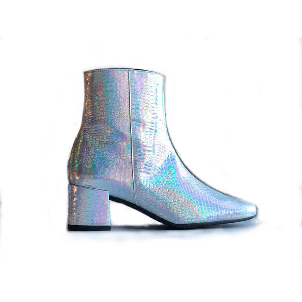 'Jacqui' vegan-leather Chelsea bootie by Zette Shoes - holographic silver - Vegan Style