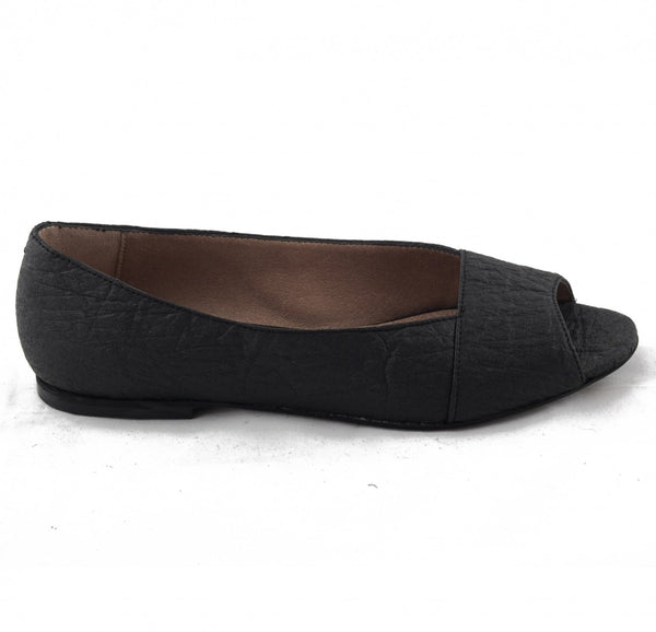 'Fara' women's vegan peep toe ballerina flats by NAE - black pinatex