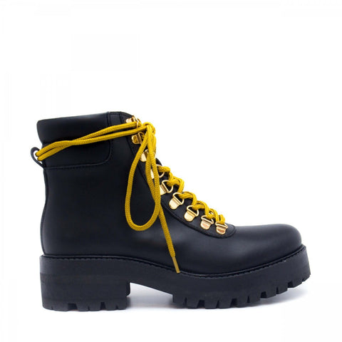 'Karla' women's vegan ankle boot with chunky sole  by NAE  - black, with yellow laces