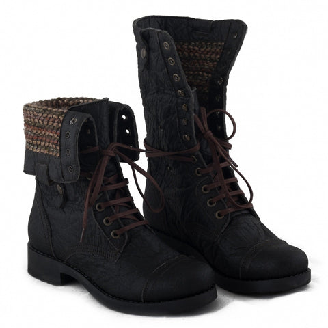 NAE 'Maya' Piñatex high-cut vegan boot - black