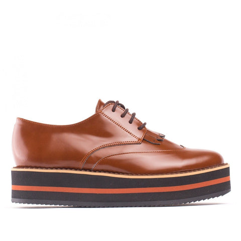 'Sandra' vegan oxford with platform sole by NAE - brown