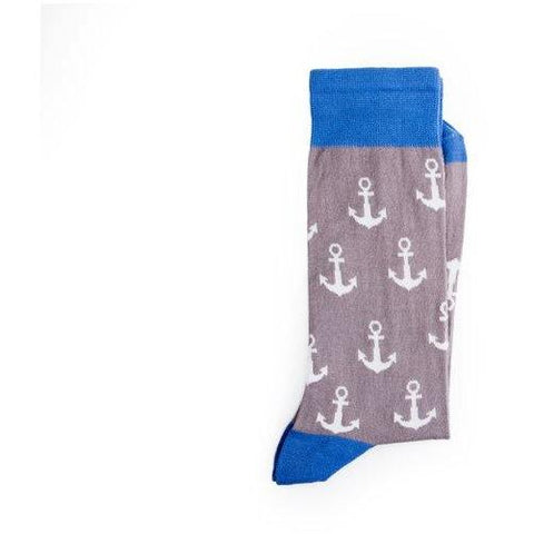 Anchor print - ethical beige and blue socks by Conscience - Vegan Style