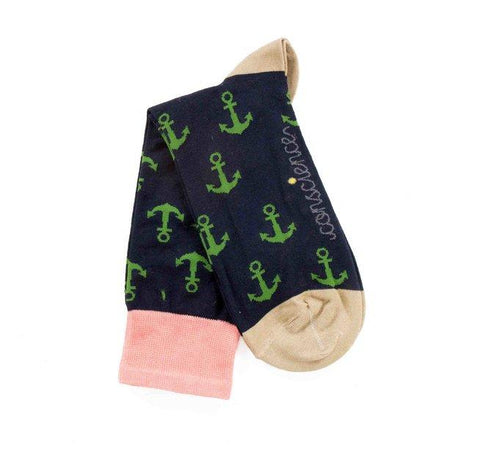 Anchor print - ethical green and navy socks by Conscience