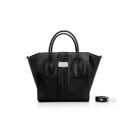 1.4 midi vegan handbag by Alexandra K - black apple leather