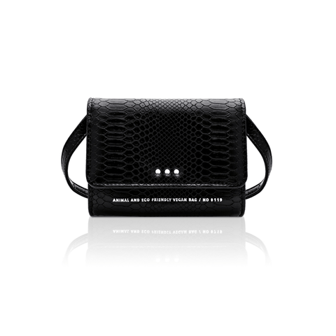 Mini vegan handbag 0.1 in python-pattern by Alexandra K - black