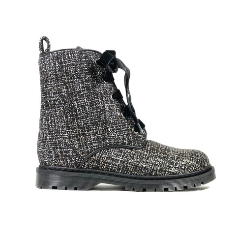 'Billie' Silver/Black textile vegan combat boots by Zette Shoes - Vegan Style