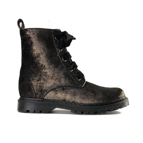 Billie vegan lace-up boots - chocolate velvet