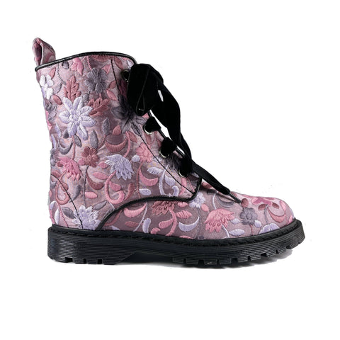 'Billie' multicolour soft brocade vegan boots by Zette Shoes - multi purple