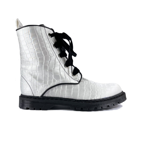 'Billie' vegan combat boot by Zette Shoes - white croc