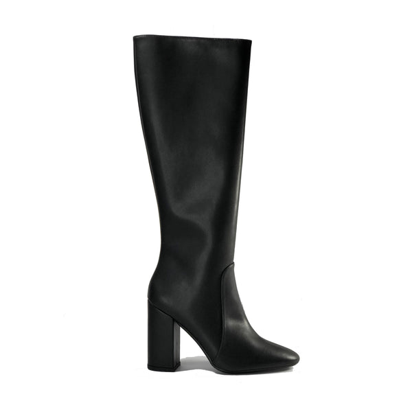 Vegan leather heeled knee high boots - Claudia black