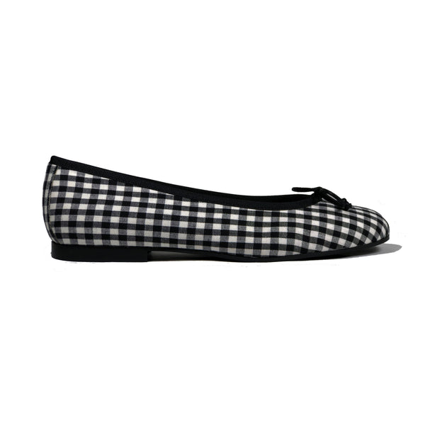 'Madi' vegan textile ballet flat by Zette Shoes - black gingham - Vegan Style