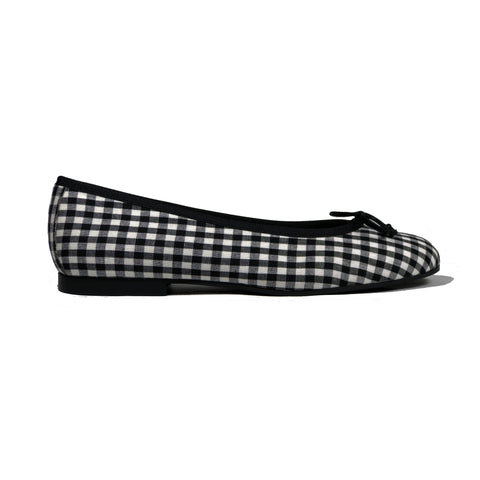 'Madi' vegan textile ballet flat by Zette Shoes - black gingham