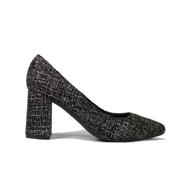 'Tanya 2' Black vegan textile high heel by Zette Shoes - Vegan Style