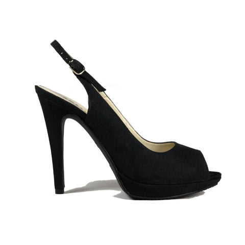 'Maddison' vegan suede slingback heel by Zette Shoes - black