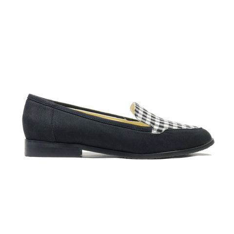 'Imogen' vegan-suede/textile loafers by Zette Shoes - black