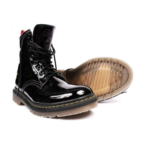 """London"" patent black vegan lace-up boot by King55"