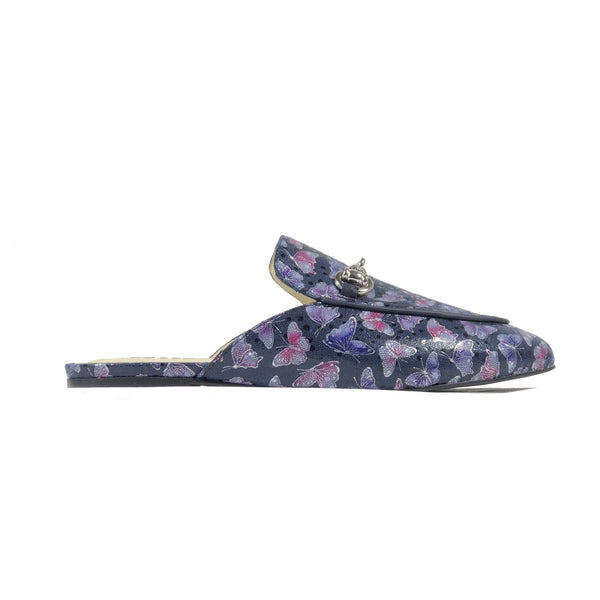'Lucinda' vegan textile slides by Zette Shoes - deep navy - Vegan Style