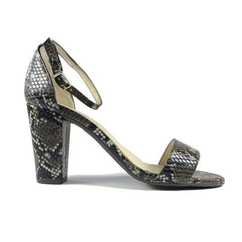 'Tahlia' vegan-leather heel by Zette Shoes - black snakeskin