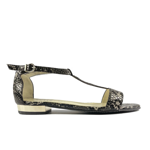 'Olive' flat vegan sandal by Zette Shoes - black snakeskin
