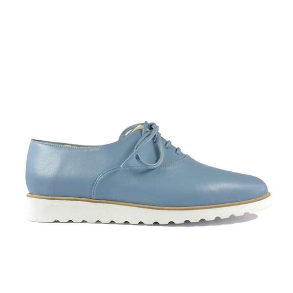 'Sarah' low-platform vegan oxford by Zette Shoes - light blue