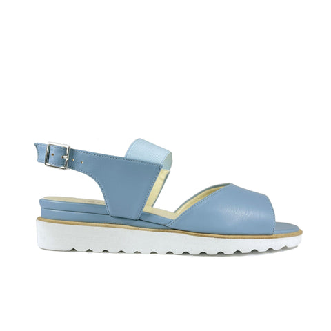 'Erica' low-platform vegan sandal by Zette Shoes - light blue
