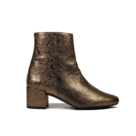 'Jacqui' vegan-leather Chelsea bootie by Zette Shoes - metallic bronze
