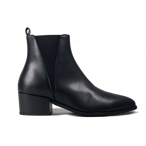 'Nerrie' vegan-leather Chelsea bootie by Zette Shoes - black